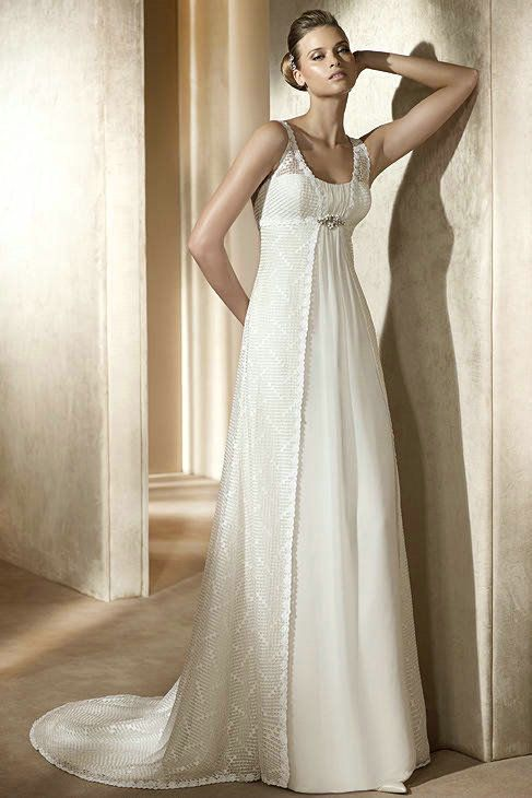 Chiffon Strapless Empire Waist Column Simple Wedding Dress With ...