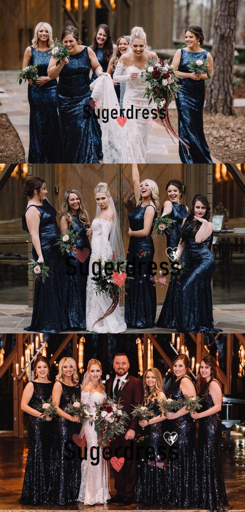 0990f116 sparkle navy blue sequins bridesmaid dresses, long bridesmaid dresses 2019,  gorgeous wedding party dresses