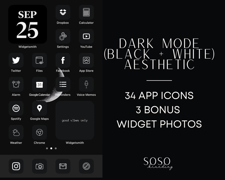 34 Black Ios 14 App Icons Dark Mode Ios14 Widget Cover Widgetsmith Ios 14 Aesthetic Black Icon Pack Dark Mode Icons Shortcut Black Aesthetic In 2020 App Icon Black Aesthetic Icon Pack
