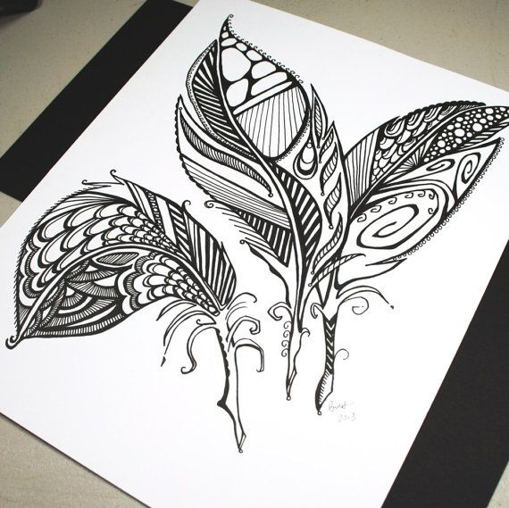 Three Feathers Original Pen Drawing Abstract Feathers Feather Art Black And White Art Tattoo Art Inspirat Creative Art Abstract Drawings Feather Art
