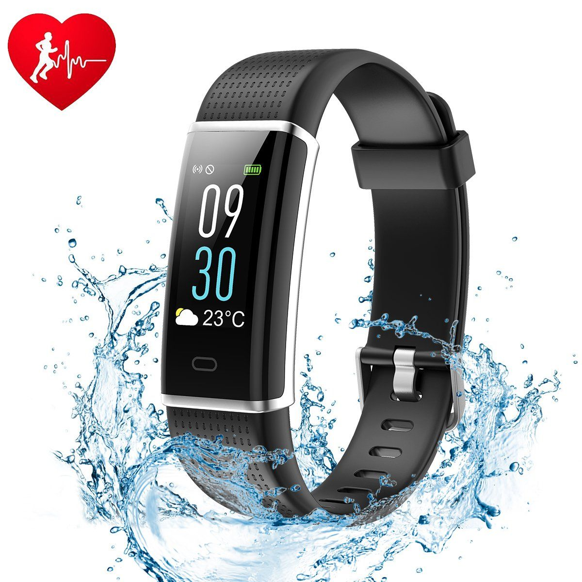 Ginsy Fitness Tracker, Smart Watch with Slim Color Touch