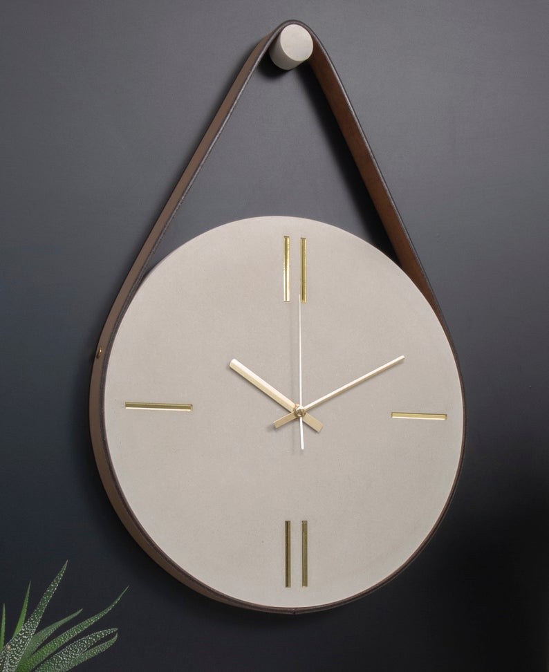 Concrete Wall Clock With Leather Stripe Modern Wall Clock Minimal Wall Clock Outdoor Wall Clock Clock For Wall Large Wall Clock Cement In 2020 Wall Clock Modern Large Wall Clock Wall Clock