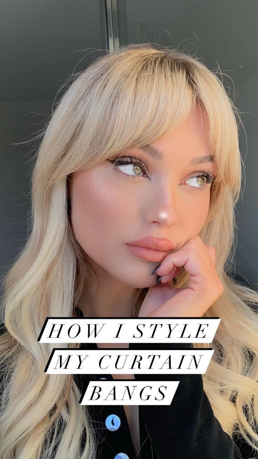 Romaneinnc On Instagram How I Style My Curtain Bangs Sometimes I Use The Straightener Too I Also Pu In 2021 Curtain Bangs Bangs With Medium Hair Dyed Blonde Hair