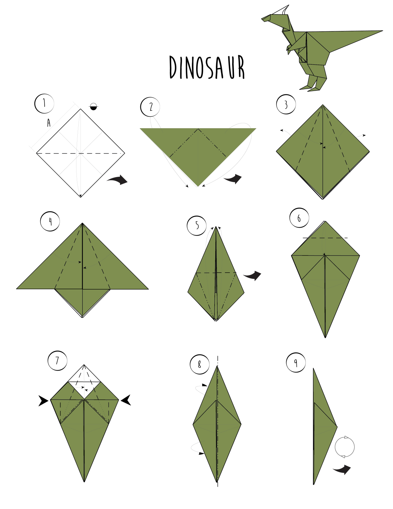 Wikihow Rawr Origami Dinosaur And 2 More Ways To Make Origami Dragon Kids Origami Useful Origami