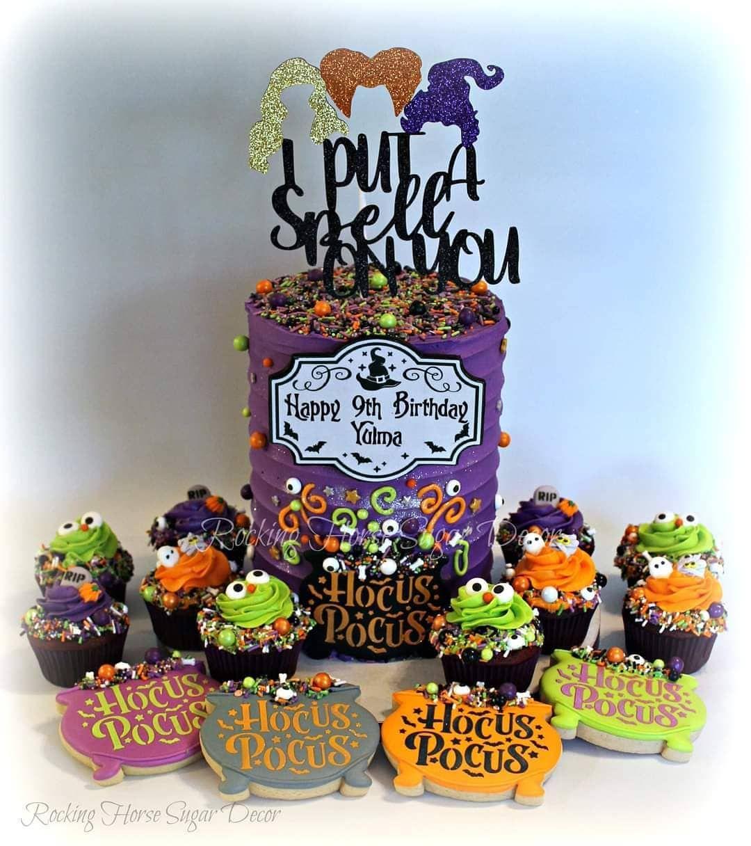 "rocking horse sugar decor on Instagram: ""Hocus Pocus Birthday #rockinghorsesugardecor #edibleart #customdecoratedcookies #decoratedsugarcookies #hocuspocuscookies #hocuspocuscake…"""