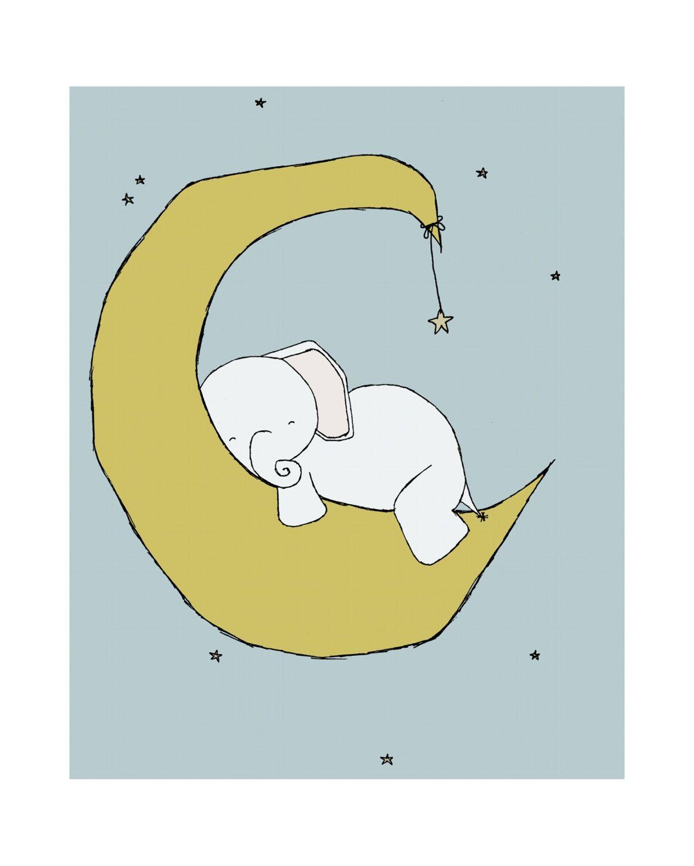 Elephant Nursery Art Print, Nursery Decor, Elephant Art Print, Baby ...