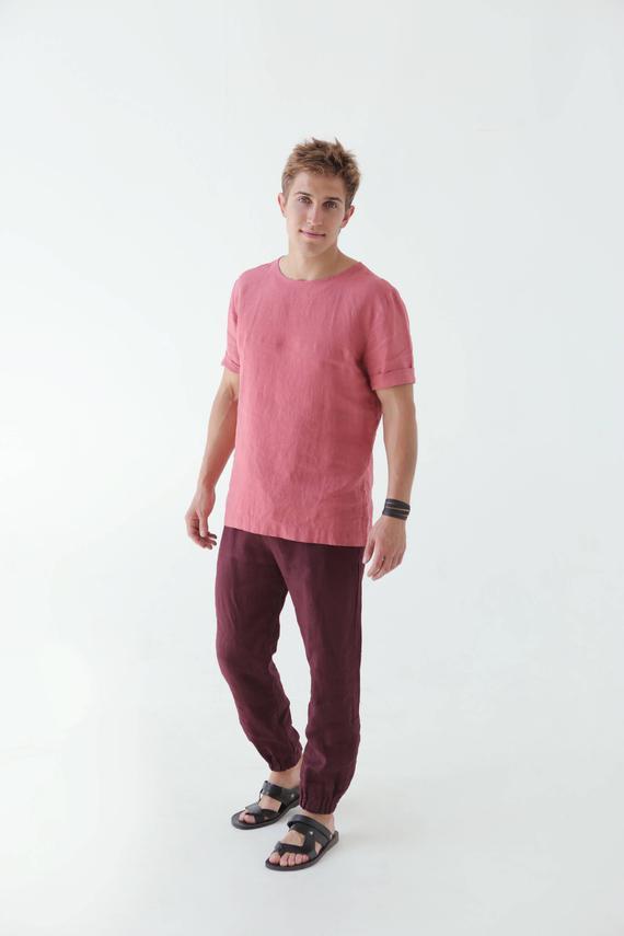 Mens Linen T Shirt Shirt For Men Mans Organic Clothes Stylish T Shirt Pink T Shirt Natural 100 Fl Linen Tshirts Beach T Shirts Shirts