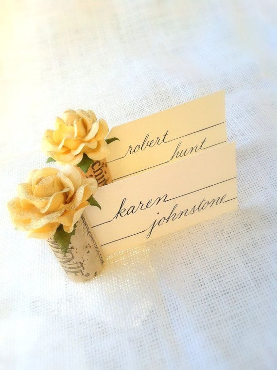 Wedding Wine Cork Place Card Holders Champagne Sparkle Table Settings Made From Recycled