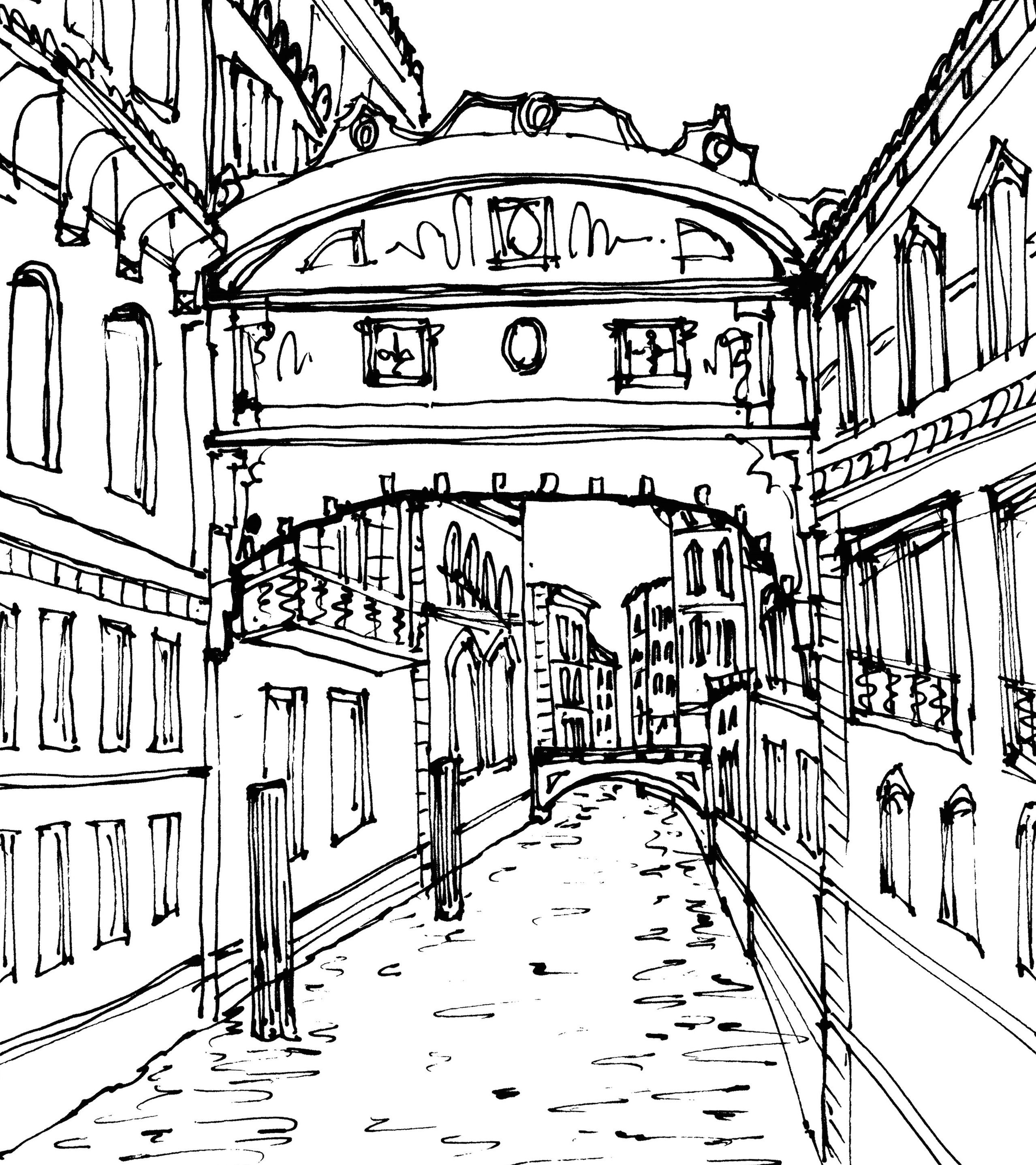 Flat Near The Bridge Of Sighs Venice Italy Black Line Sketch