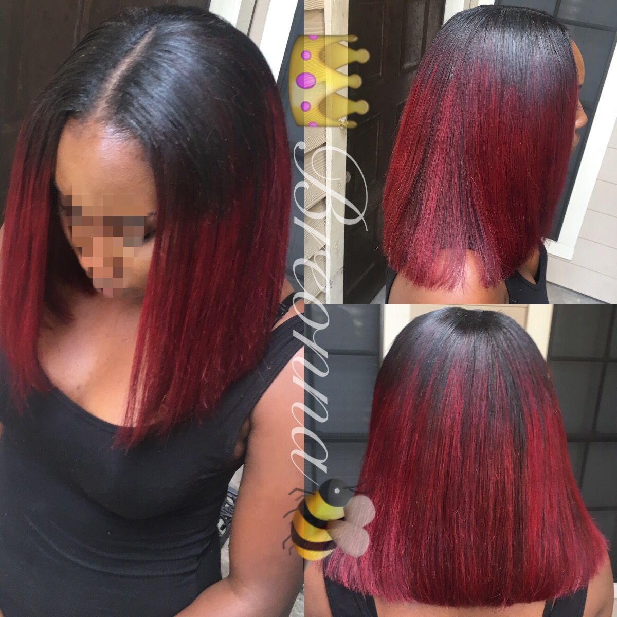 blunt cut bob with red ombré. | hair | red bob hair, red