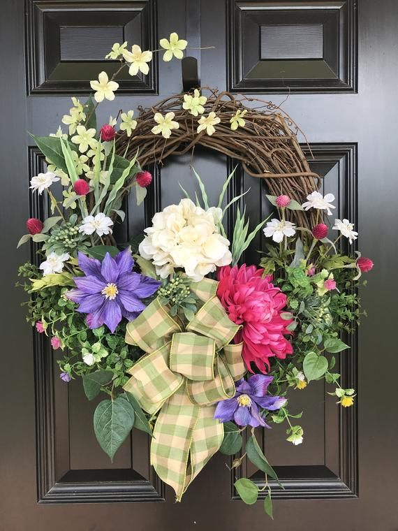 Photo of SUMMER CRATE for front door, summer decor, summer wreath, natural wreath, front door wreath, hydrangea wreath, colorful wreath, grapevine