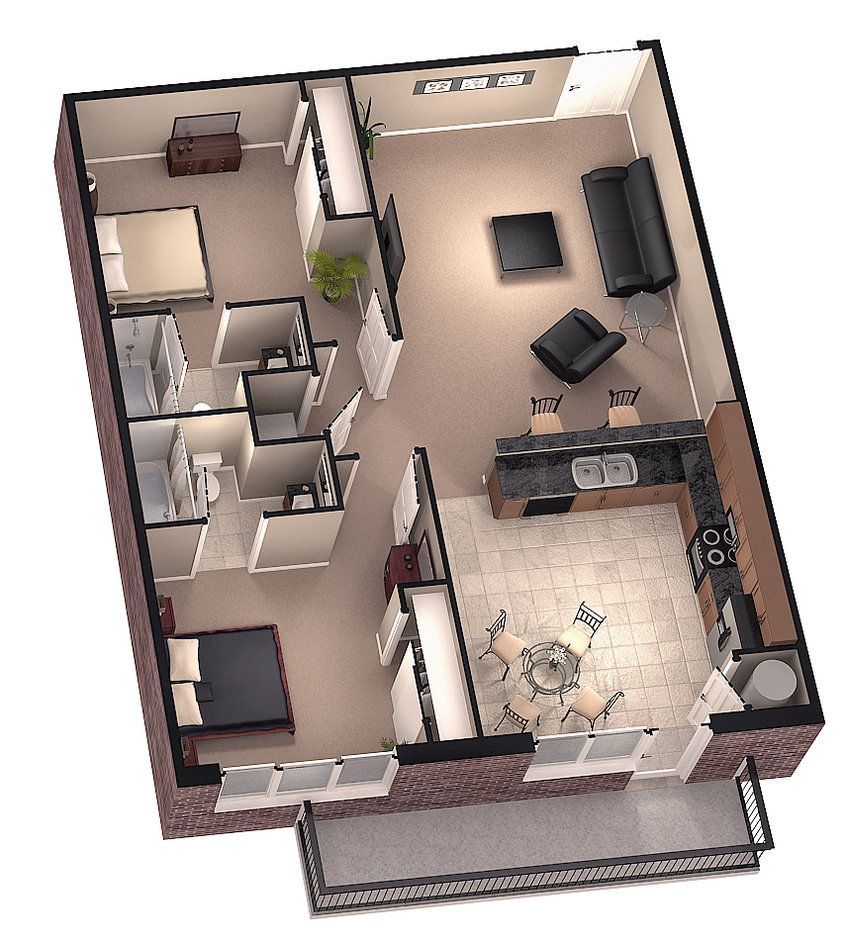 Brookside 3d Floor Plan 1 By Dave5264 On Deviantart House Plans Two Bedroom Tiny House Small House Plans