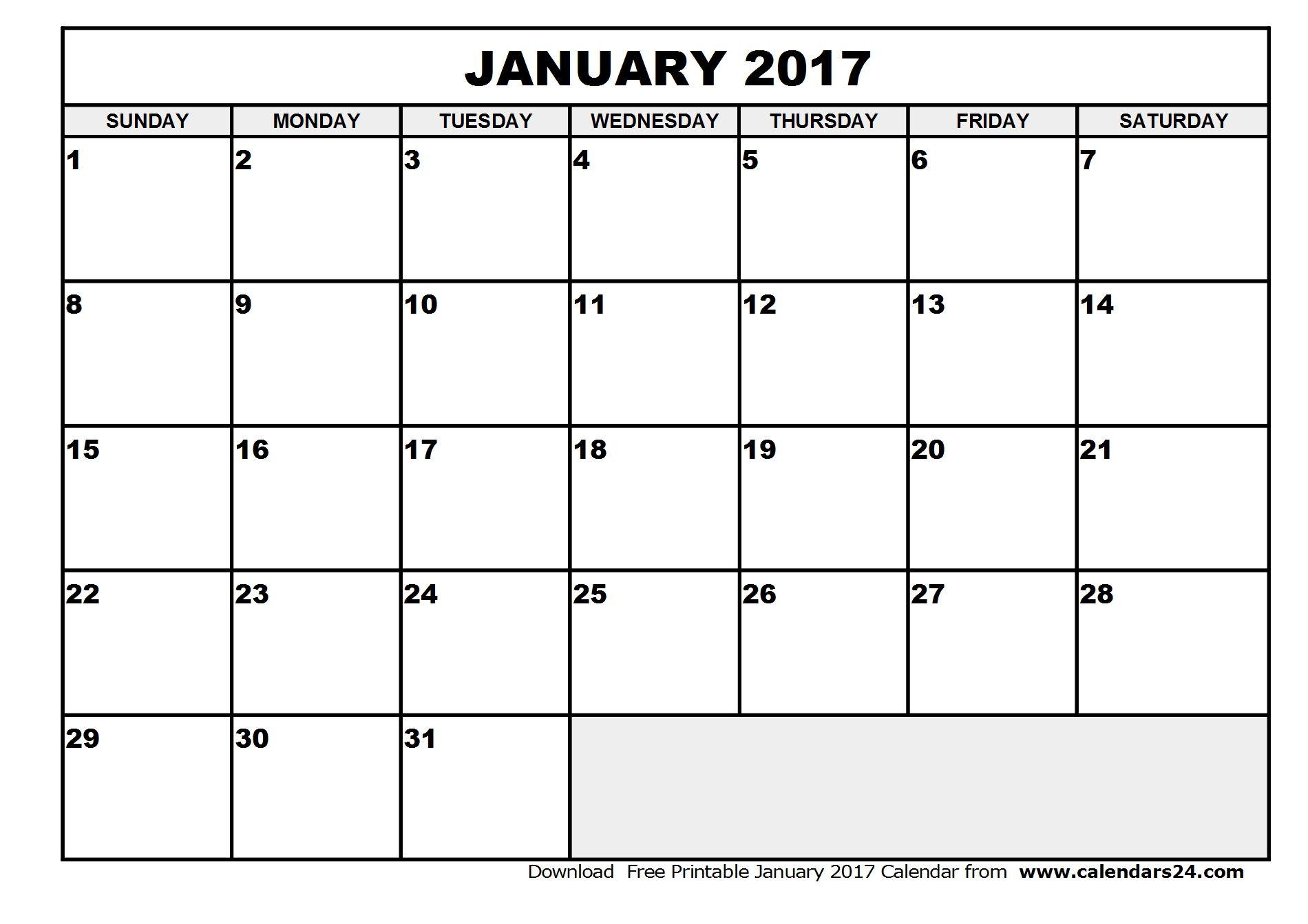 Printable January 2017 Calendar Blank Monthly Calendar Template
