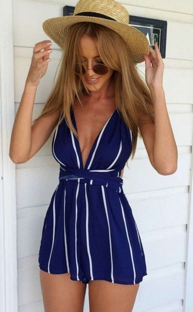 6d2907db9c8c jumpsuit dress summer top summer dress beach party skirt shorts crop tops blue  white stripes vogue chanel boho bohemian grunge vintage girl blonde hair hat