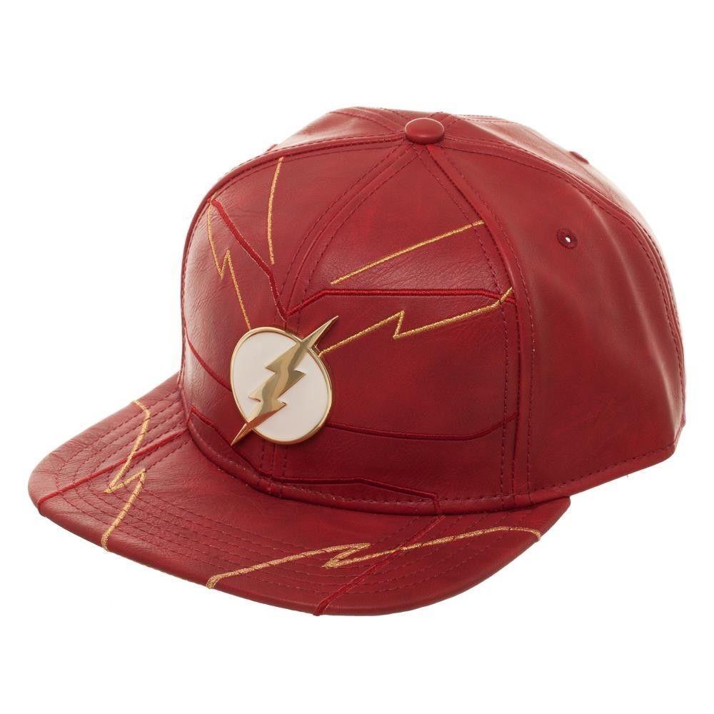 ebe59656 DC Comics Flash Rebirth Faux Leather Snapback Hat Cap Metal Lightning Logo  #Bioworld #BaseballCap