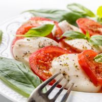Main Ingredients Caprese Salad with White Wine