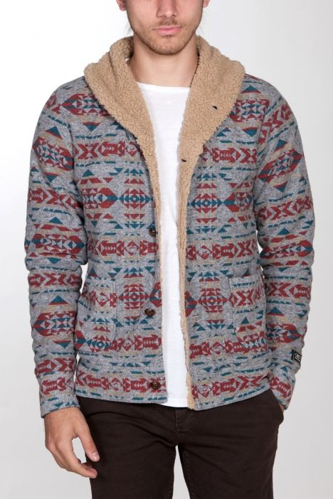 CANYONS JACKET OBEY Navajo patterned fleece cardigan with sherpa ...