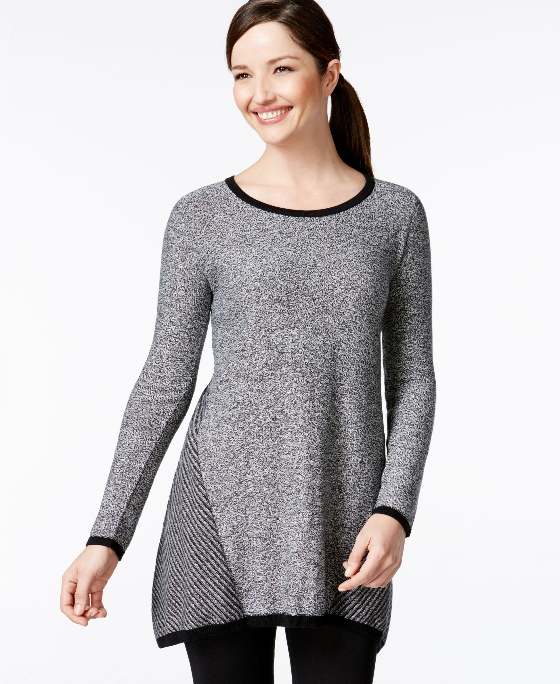 Style&co. Handkerchief-Hem Striped Tunic Sweater, Only at Macy's ...
