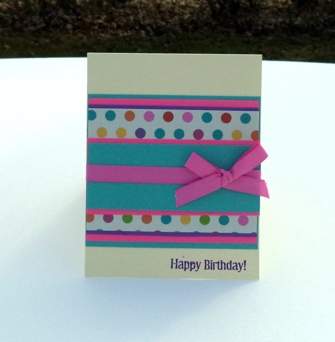 Birthday Card, Card for Adults, Polka Dot Birthday Card, Happy Birthday Card, Handmade Greeting Card by Paperika on Etsy