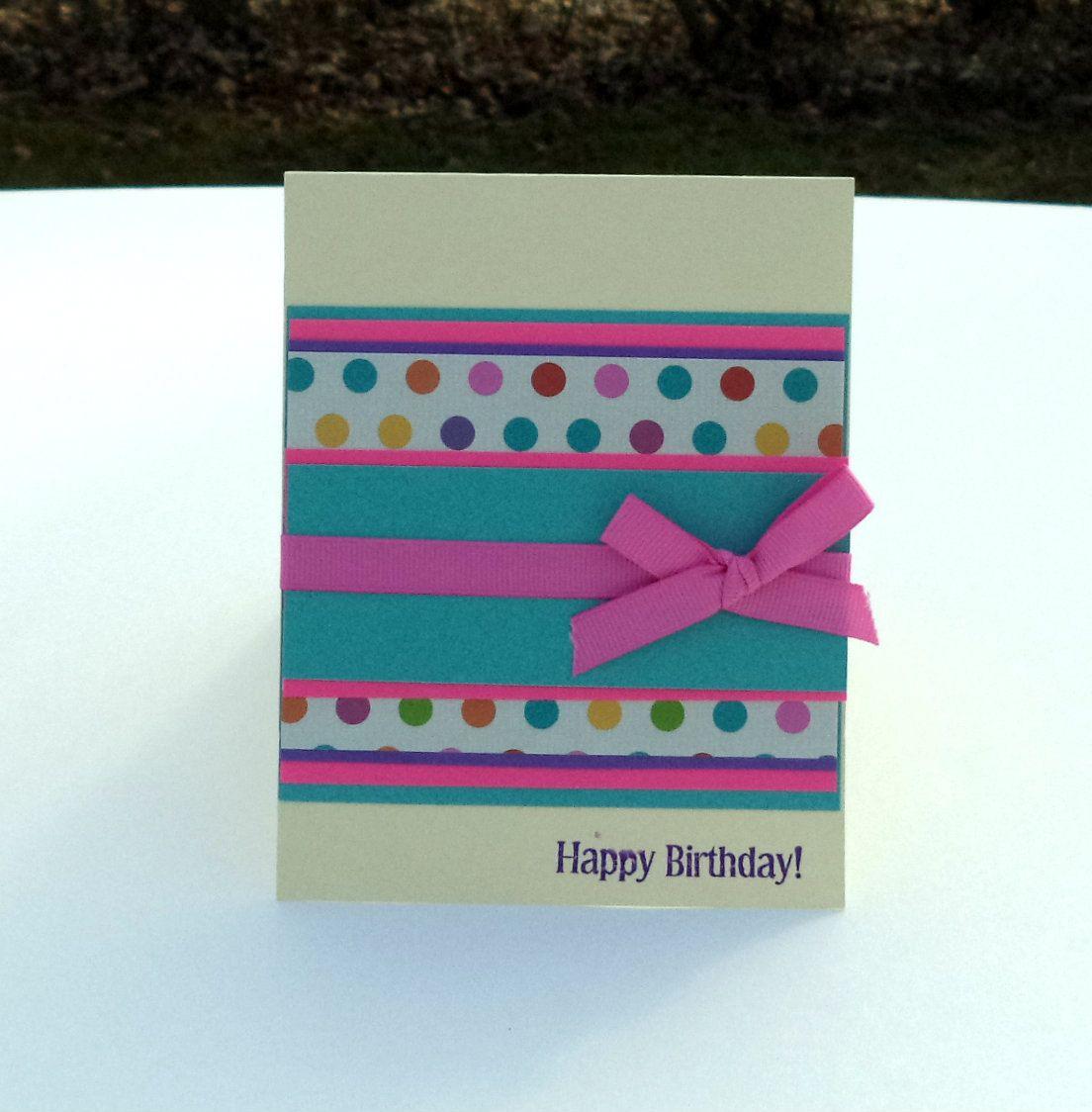 Birthday card card for adults polka dot birthday card happy