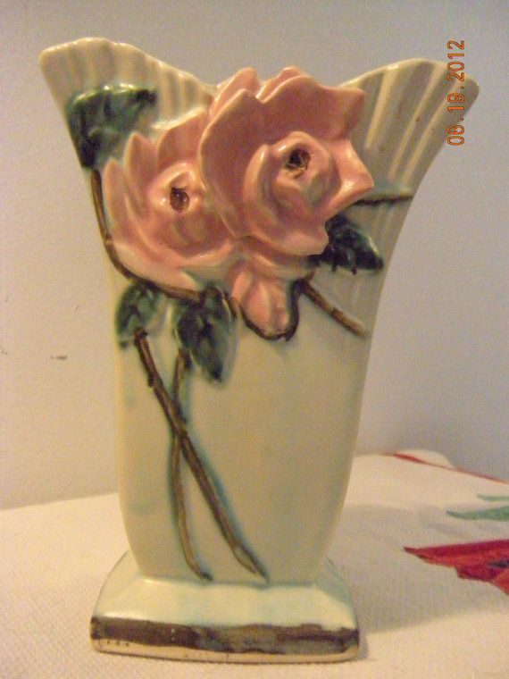Vintage McCoy Wild Rose Aqua Vase  1950 by MinniPicker on Etsy, $34.00