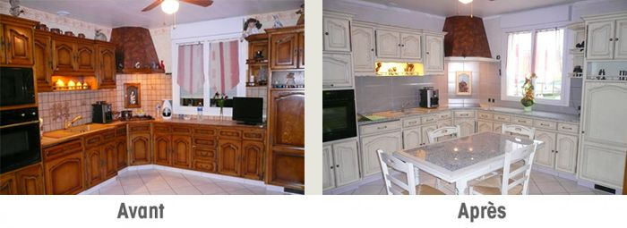 Avant apres maison relooking cuisine relooking et cuisine bois - Relooking cuisine rustique ...