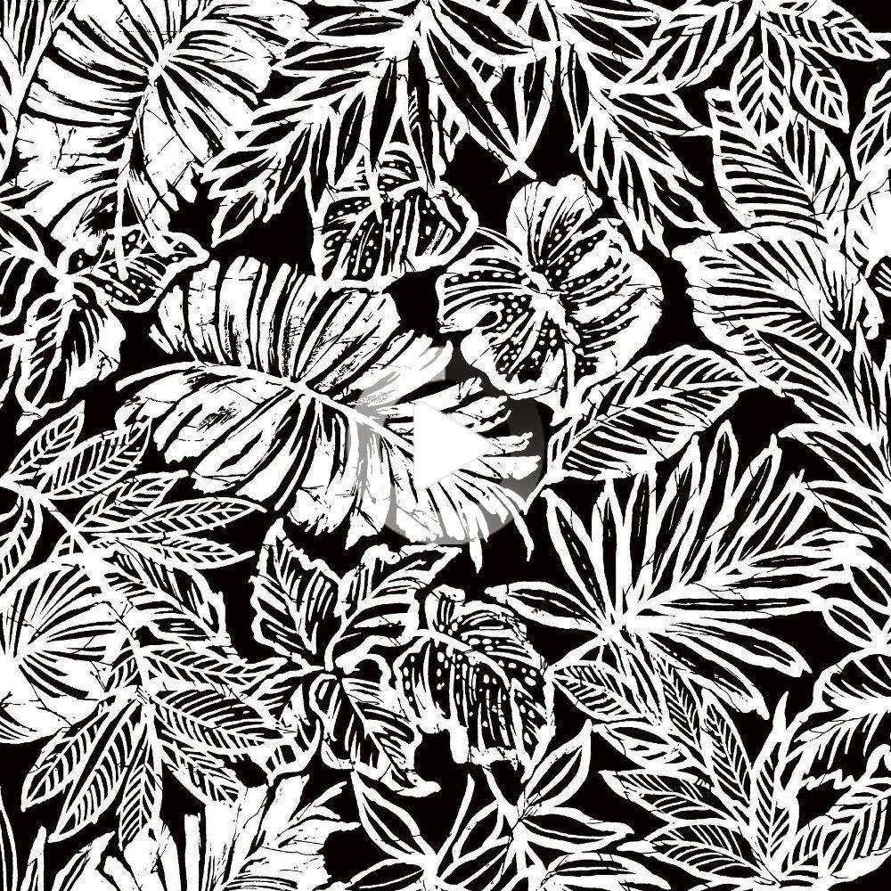 Roommates Batik Tropical Leaf Peel Stick Wallpaper Black Tropical Leaves Peel And Stick Wallpaper Vinyl Wallpaper