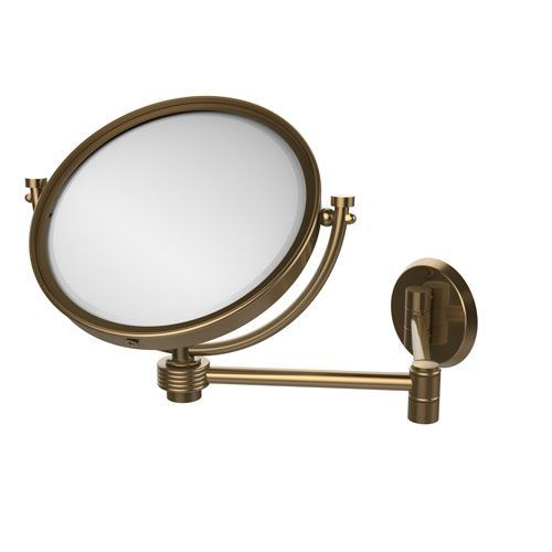 Minimalist 8 Inch Wall Mounted Extending Make Up Mirror 3X Magnification with Groovy Accent Brushed - Model Of magnifying makeup mirror Simple