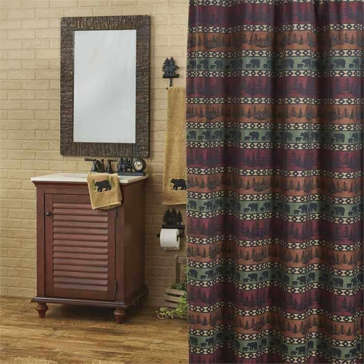 Pine Forest Bears Shower Curtain Bathroom Decor Signs Rustic Bathroom Vanities Pirate Bathroom Decor