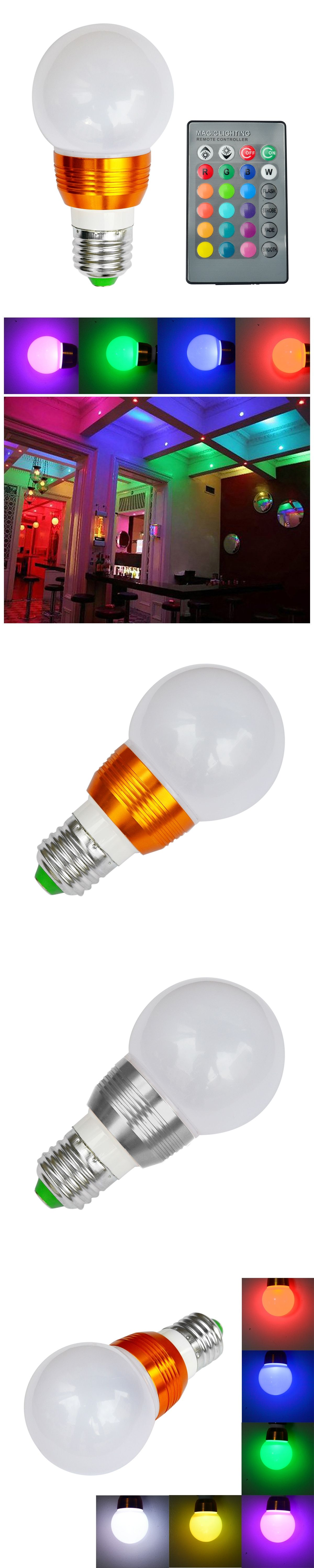 Jiawen 3W E27 RGB LED Bulb 16 Color Change Lamp spotlight 85-265V ...
