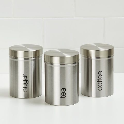 Brushed Stainless Steel Canisters 3 Pack KMART $10