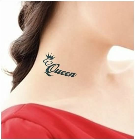 Queen Crown Tattoo On Side Neck Crown Tattoo Design Crown Tattoos For Women Crown Tattoo