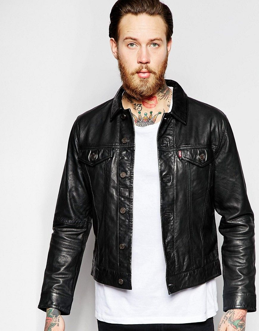 Levi's+Leather+Trucker+Jacket+Premium+Goods+Slim+Fit+in