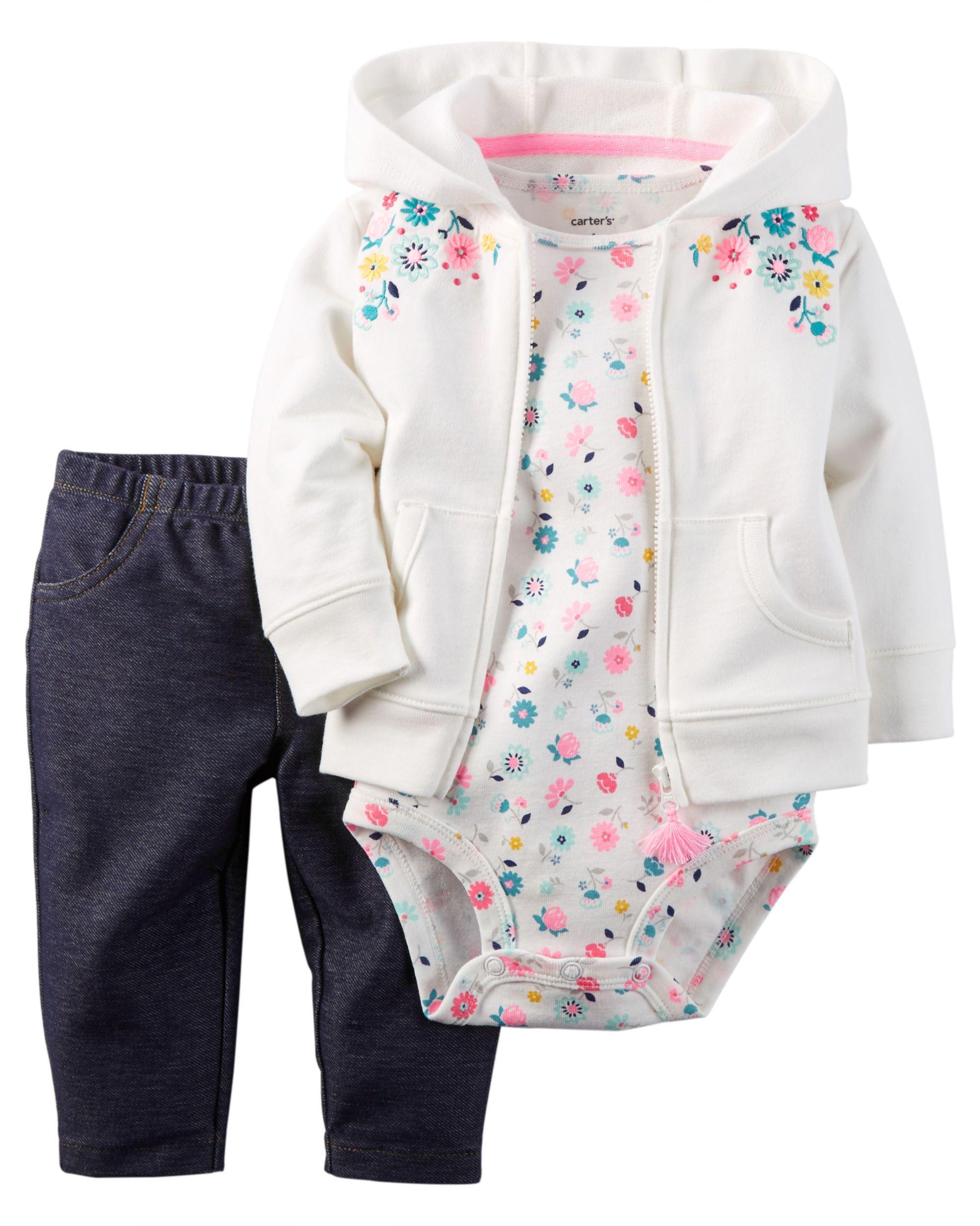 bab25dae9198 Ensemble 3 pièces cardigan pour bébés filles