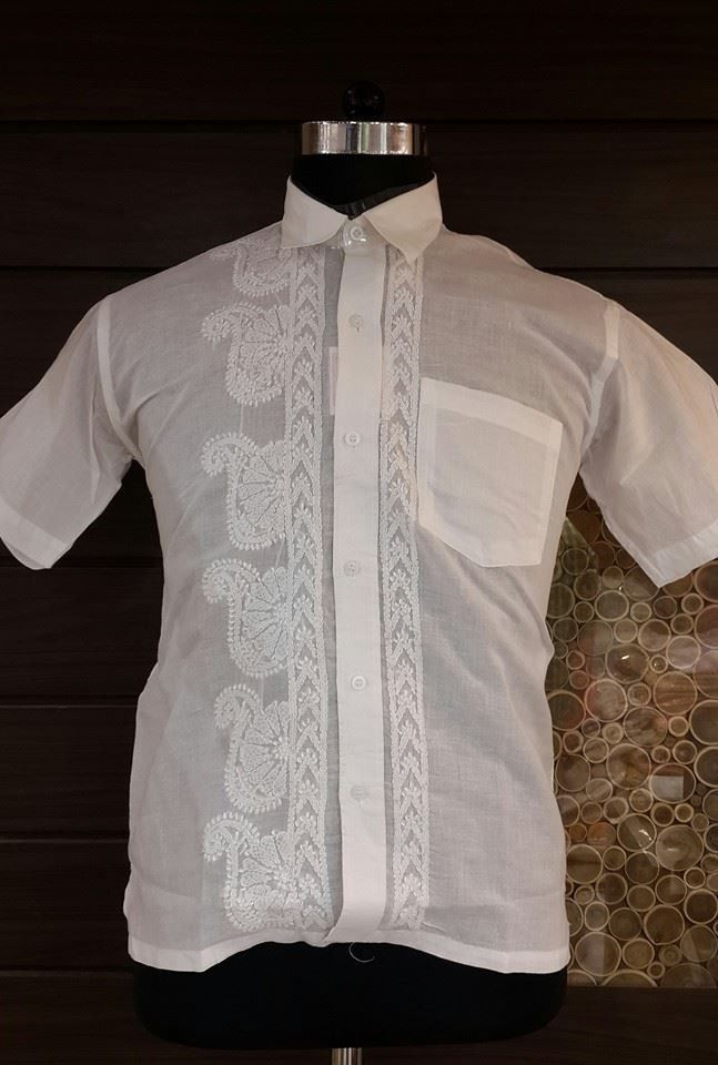 4f77b9ab6f0 Lucknowi Chikan Hand Embroidered Mens Shirt  12.30