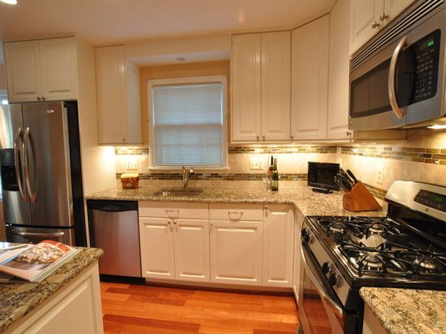 Giallo Fiorito Granite Kitchen Countertops White Cabinets
