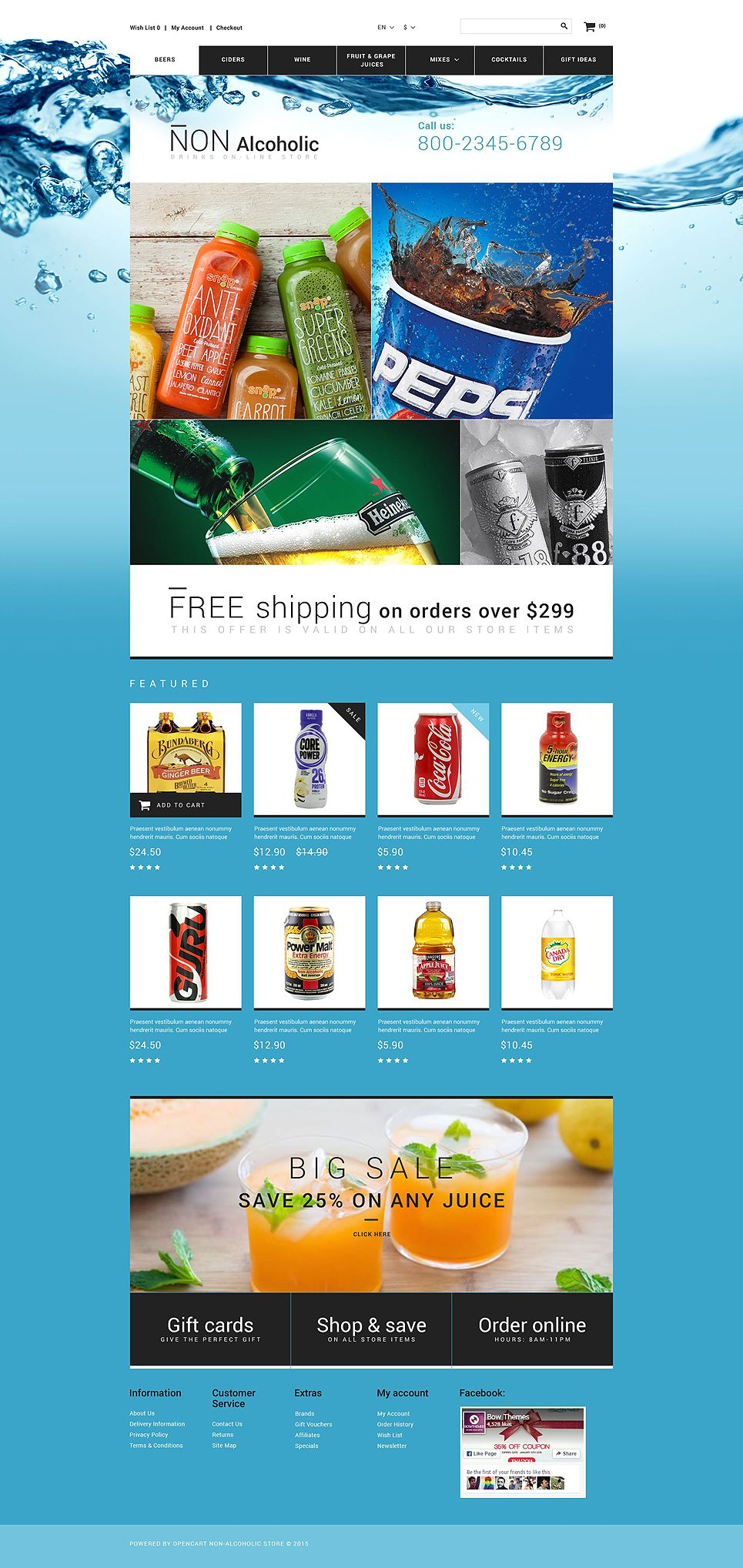 Drink Store OpenCart Template New Website Templates