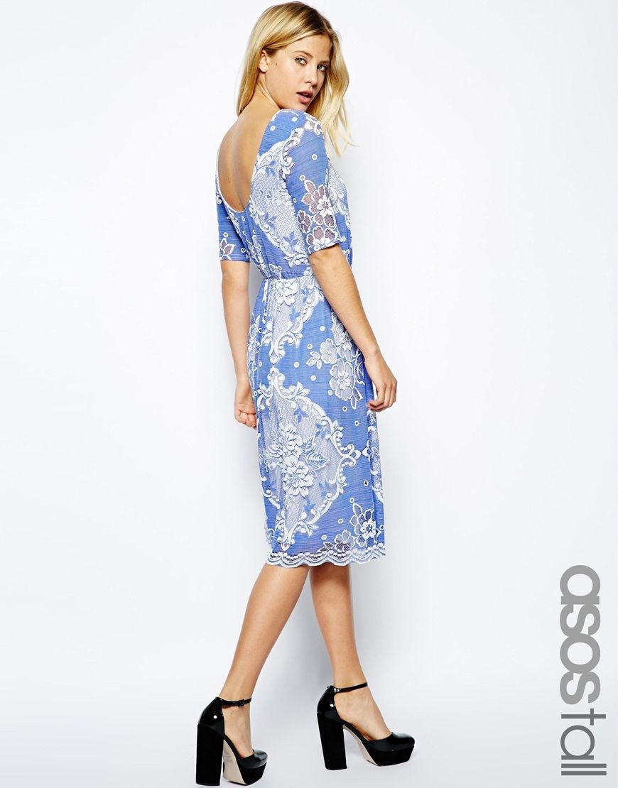 Asos wedding guest dress midi  ASOS TALL Midi Skater Dress In Pretty Lace With Scoop Back  Clothes