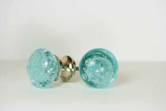 blue glass drawer knob drawer pull blue bubbles drawer pull for