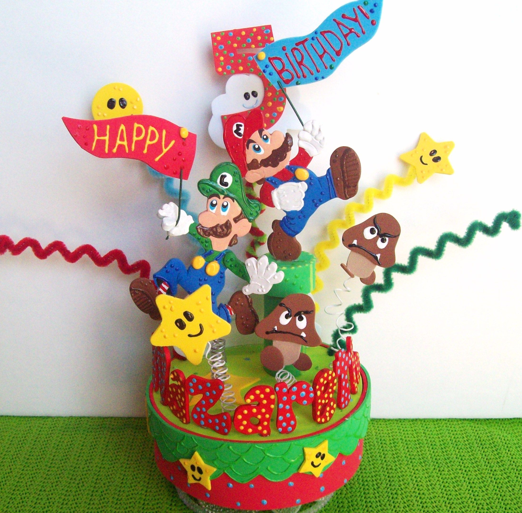 Birthday cake topper or party centerpiece by kharygoarts