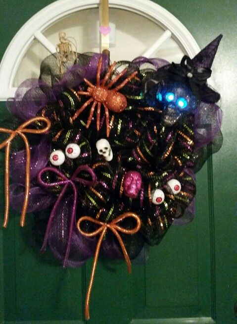 I made this Halloween Deco Mesh Wreath for Gina
