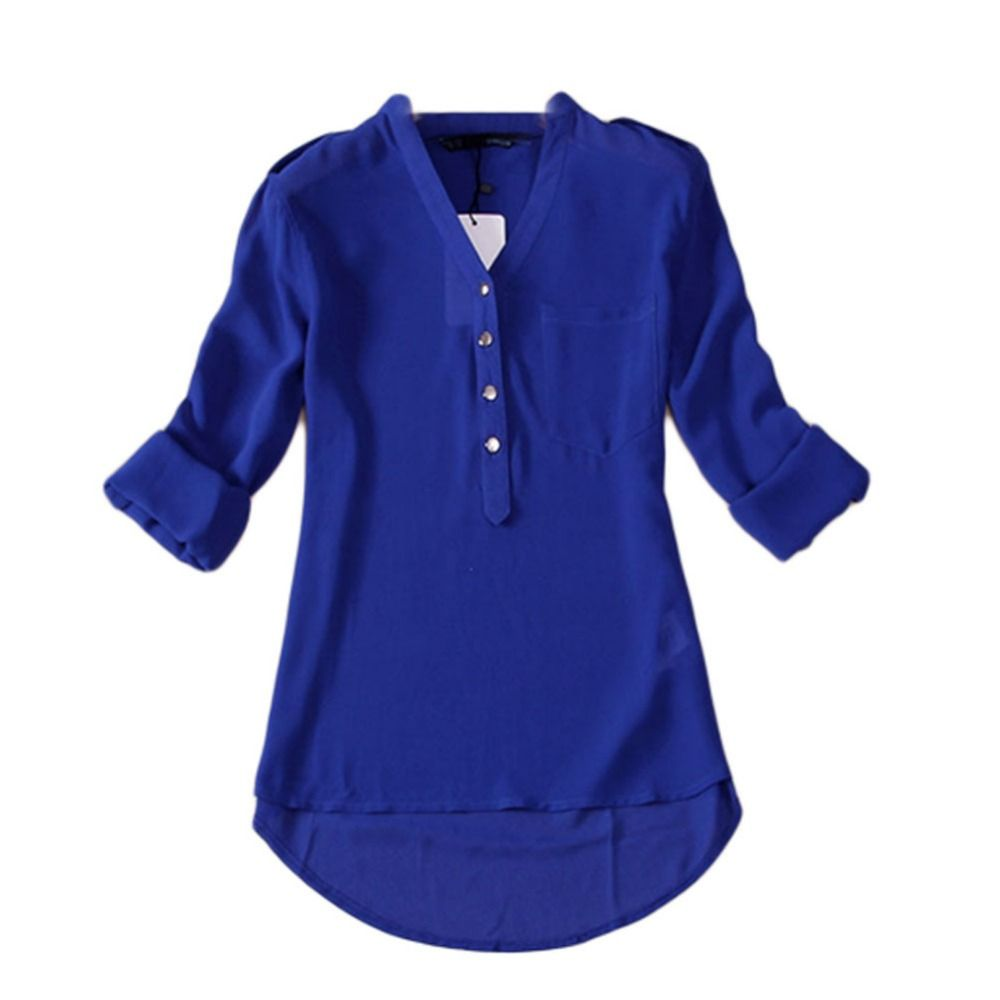 Fashion Women Summer V-Neck Long Sleeve Loose Casual Chiffon Shirt ...