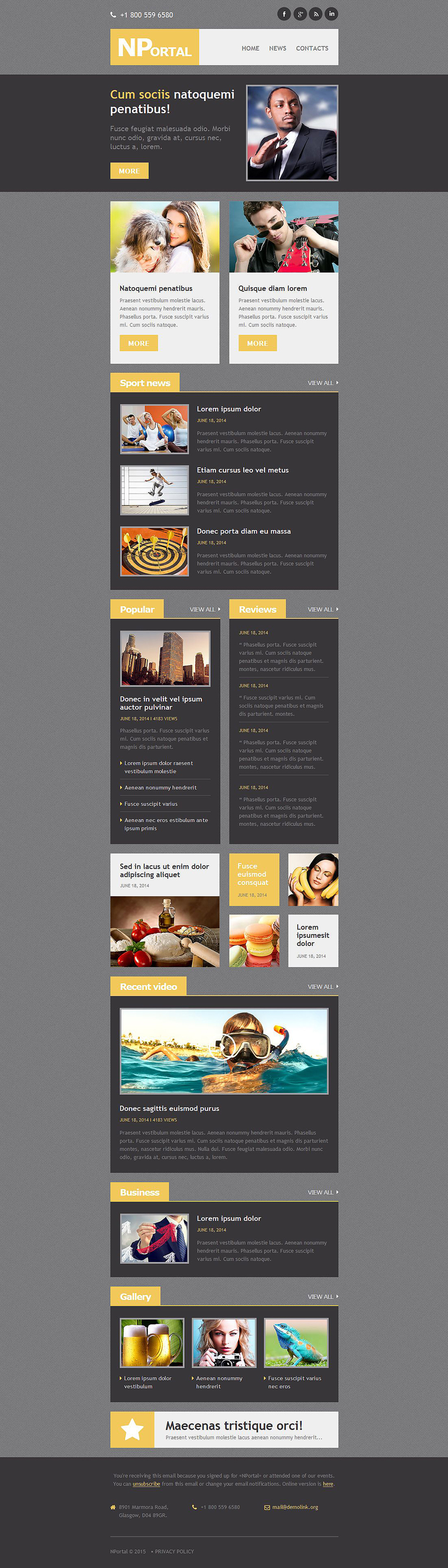 News Portal Responsive Newsletter Template email