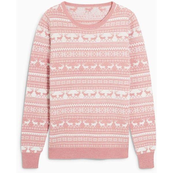Blush Christmas Fairisle Pattern Sweater ($35) ❤ liked on ...