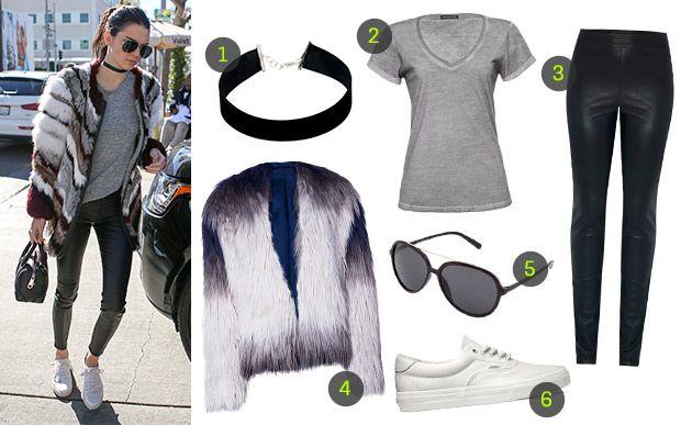 1- Choker Sie Hous na Dafiti (R$ 39,90*); 2- camiseta Damyller (R$ 99*); 3- calça Joulik para C&A (R$ 169,99*); 4- casaco Dimy (R$ 289,90*); 5- óculos Butterfly na Dafiti (R$ 44,99*); 6- tênis Vans (R$ 299,99*).  Já que a mistura de casaco de pelo com calça de couro é bem fashionista, outras peças básicas, como a t-shirt lisa e o sneaker branco, garantem um balanço ao look. Fica lindo, né?