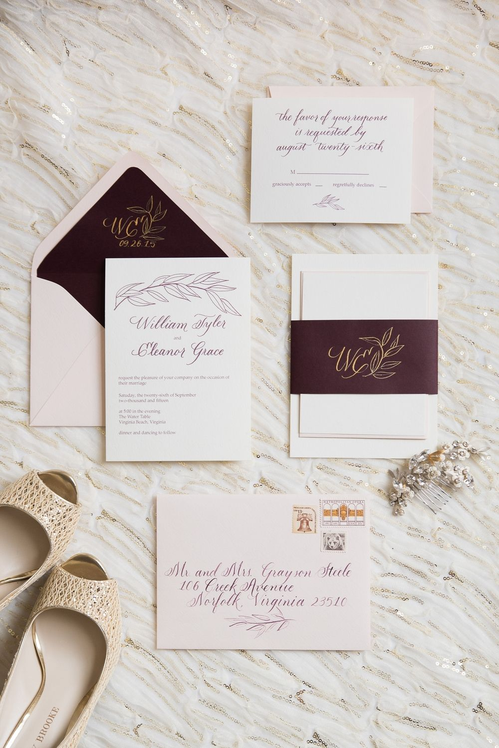 Burgandy Wine Ivory And Blush Calligraphy Invitation Suite With
