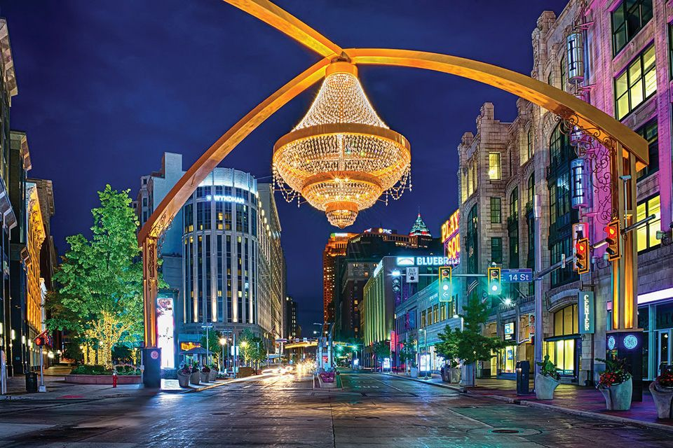 Playhouse Square at Night with the new chandelier | Me Stuff ...