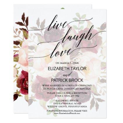 Elegant Calligraphy Faded Fl Live Laugh Love Card Wedding Invitations Cards Custom Invitation Design Marriage Party Pinterest