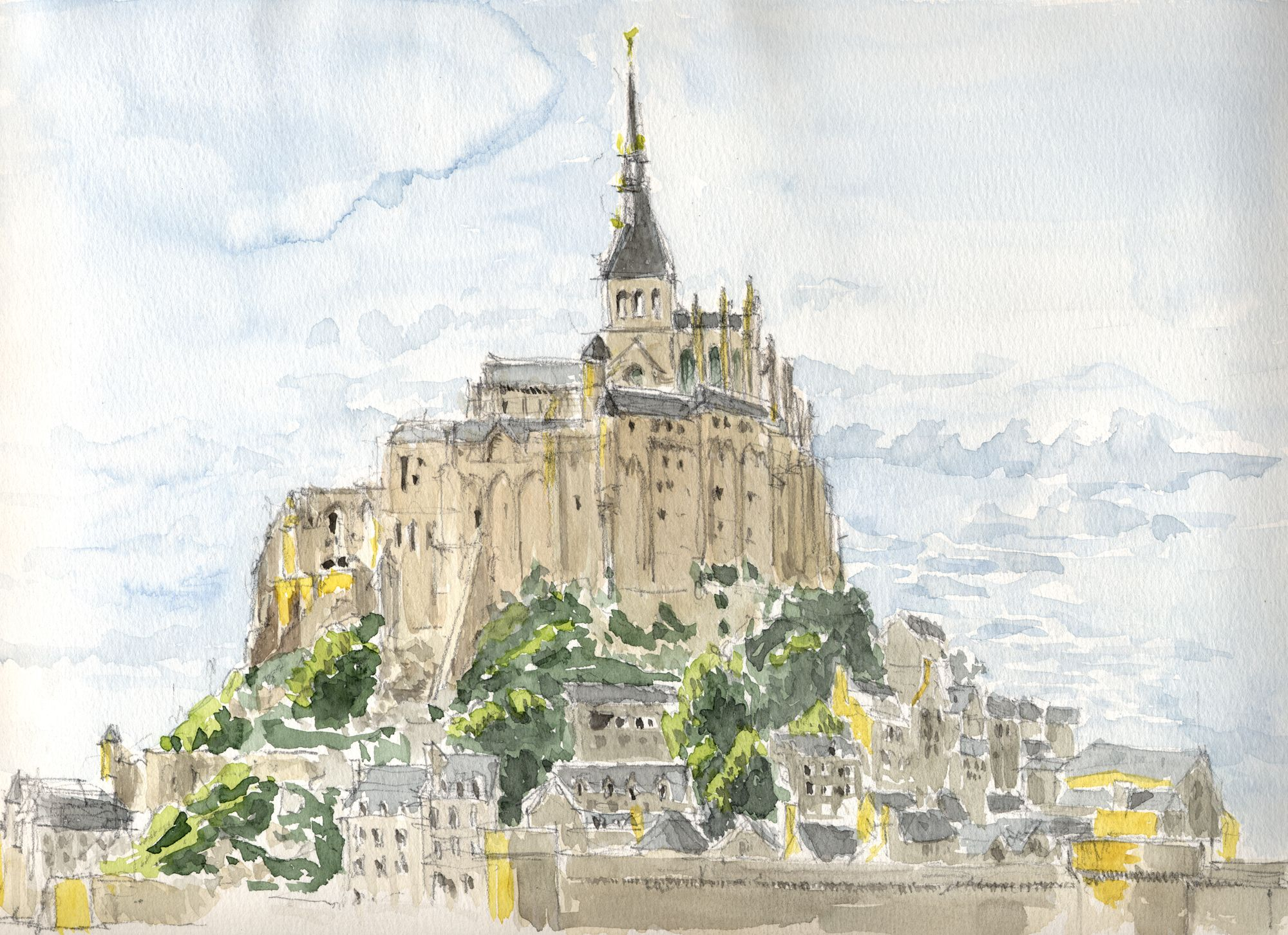 Watercolour Mont Saint Michelle Bretagne France 2009 By Curro