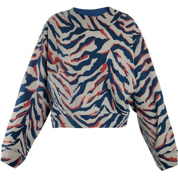 45ec1fc9e27bb0 Balenciaga Zebra-print jersey sweater ( 476) ❤ liked on Polyvore featuring  tops